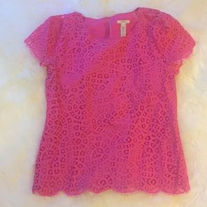 Pink J Crew Lace Top
